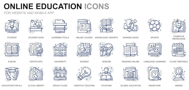 웹 사이트 및 모바일 앱을위한 간단한 세트 교육 및 지식 라인 아이콘