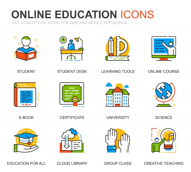 Simple set education and knowledge line icons for website