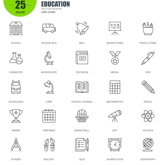 Simple set of education related vector line icons