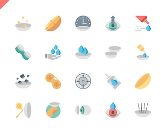 Simple Set Eye Lens Flat Icons for Website and Mobile Apps.