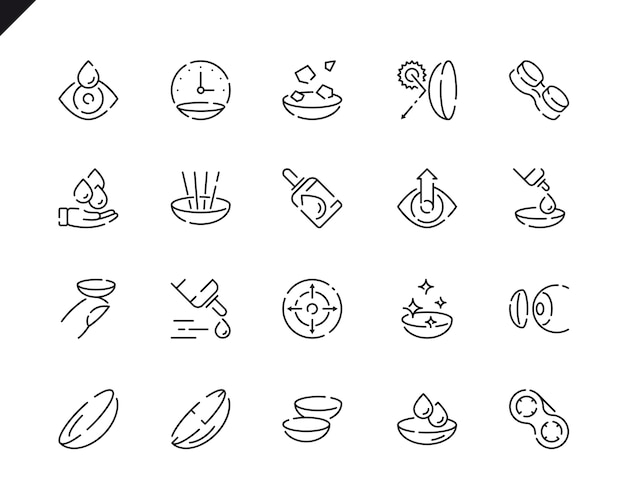 Simple set eye lens line icons