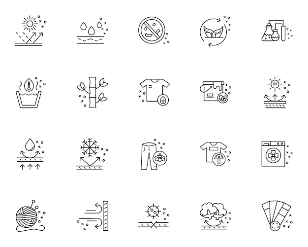 Simple set of fabric features related icons in line style