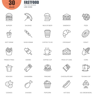Simple set of fast food related vector line icons