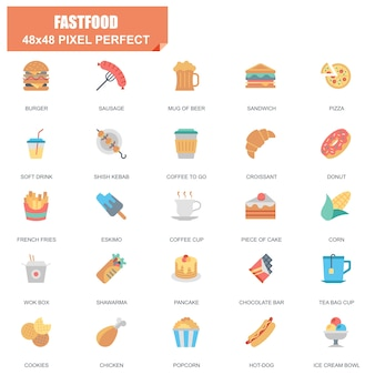 Simple set of fastfood related vector flat icons
