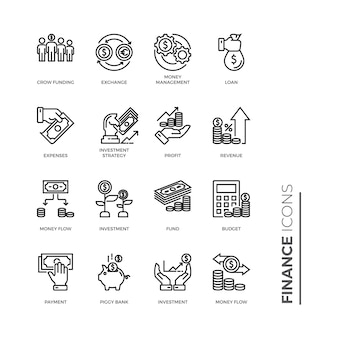 Simple set of finance icon, related vector line icons