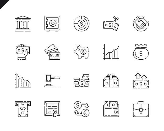 Простой набор значков финансовой линии для веб-сайтов и мобильных приложений.