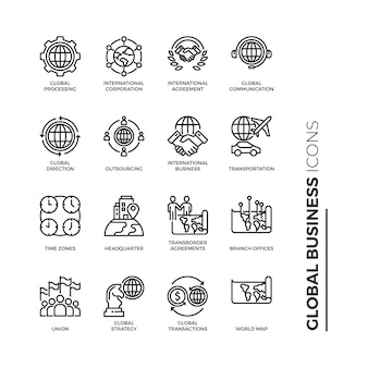 Simple set of global business icon, related vector line icons