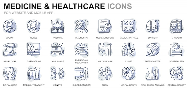 Simple set healthcare and medicine line icons for website and mobile apps Premium Vector