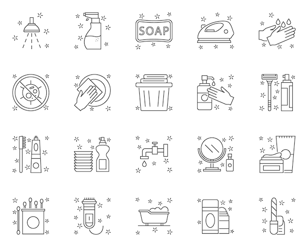 Simple set of hygiene related  line icons