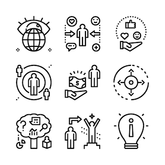 Simple set of marketing related line icons.
