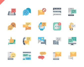 Simple Set Message Flat Icons for Website and Mobile Apps.