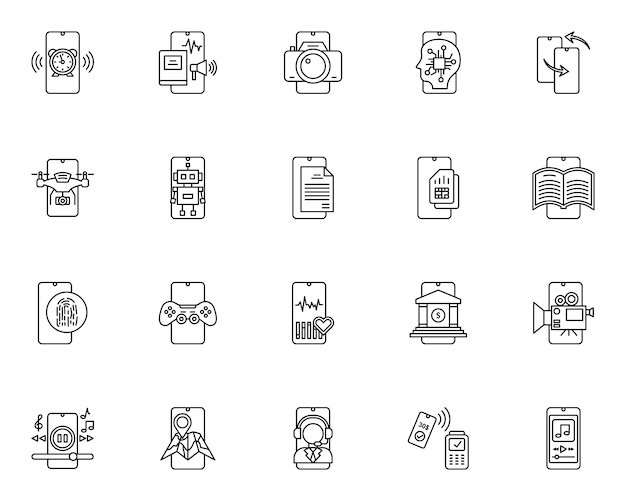 Simple set of mobile technology related icons in line style