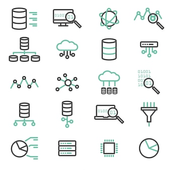 Simple set of big data, database, cloud computing, server, network vector line icons. Elements for computer, web, apps and mobile concept.