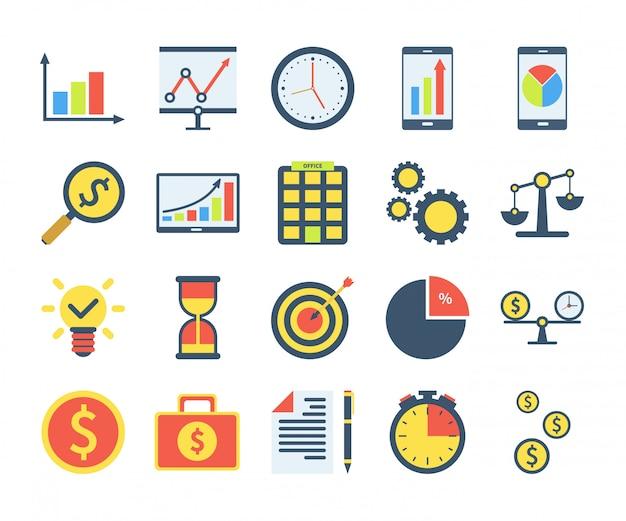 フラットスタイルのビジネスアイコンのシンプルなセット。円グラフ、投資検索、時は金なり、チームワークなどのアイコンが含まれています。