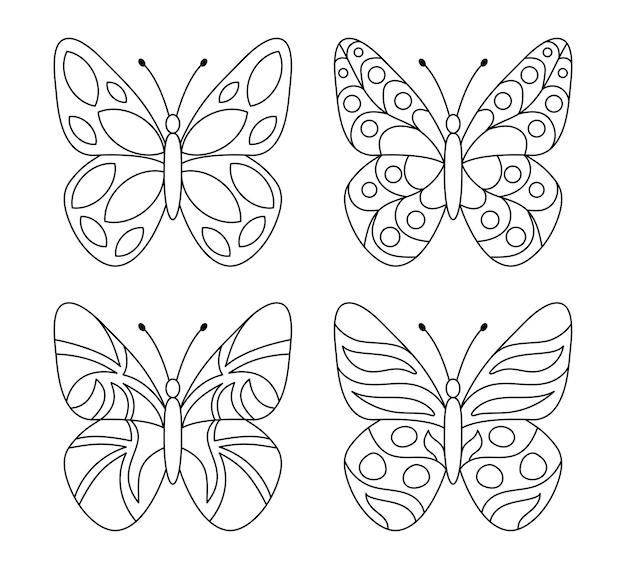 白い背景の上の蝶のシンプルなセット