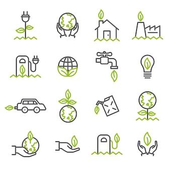 Простой набор значков, связанных с экологией
