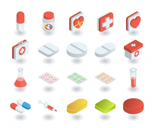 平らな等角投影の3dスタイルの健康と医学のアイコンのシンプルなセット。ピル、試験管、応急処置、薬箱などのアイコンが含まれています。