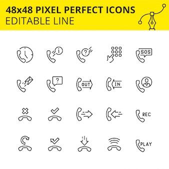 Простой набор иконок, связанных с услугами телефона. коллекция символов технологии телефона наброски. содержит значки, такие как телефон, поддержка, клавиатура, смс и т. д. pixel perfect. инсульт. ,