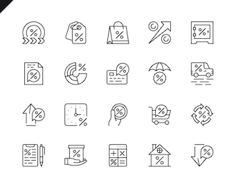 Simple Set of Loan Money Related Vector Line Icons.