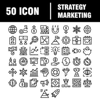Простой набор иконок, связанных с маркетингом линии. содержит такие значки, как «почтовый маркетинг», «целевая аудитория», «ключевые слова», «презентация продукта» и многое другое. инсульт.