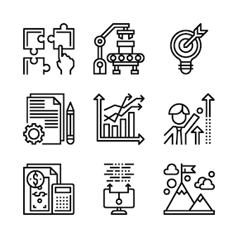 Простой набор маркетинговых иконок, связанных с линии.