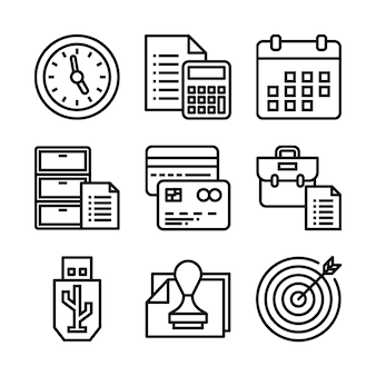 Simple set of office related vector line icons.
