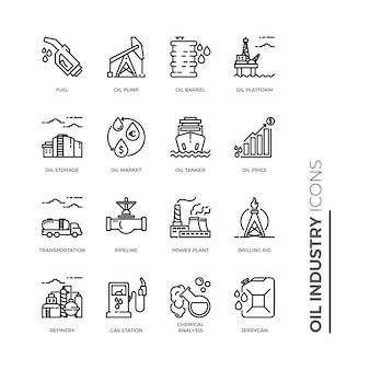 Simple set of oil industry icon, related vector line icons