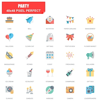 Simple set of party related vector flat icons