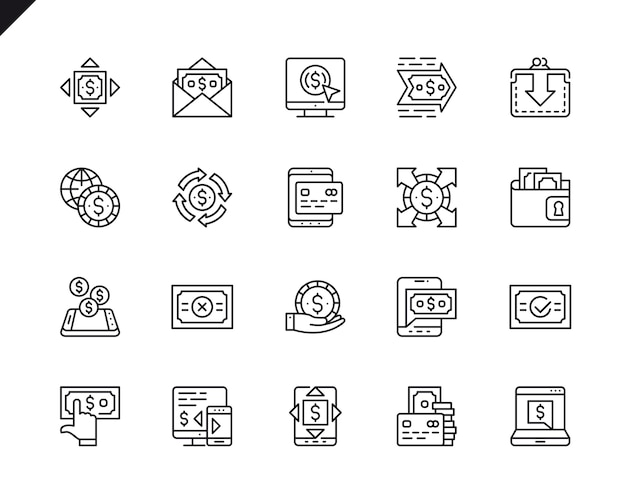 Simple set of payment related vector line icons.