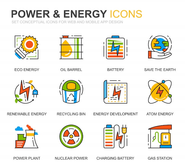 Simple set power industry and energy line icons for website