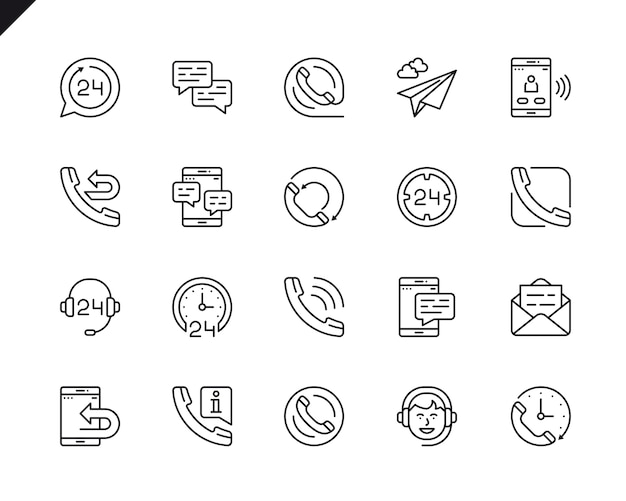 Simple set of processing related vector line icons.