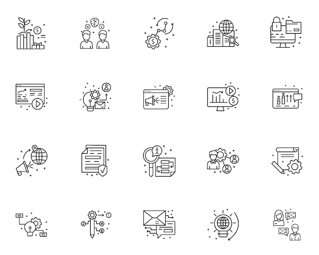 Simple set of project management related icons in line style