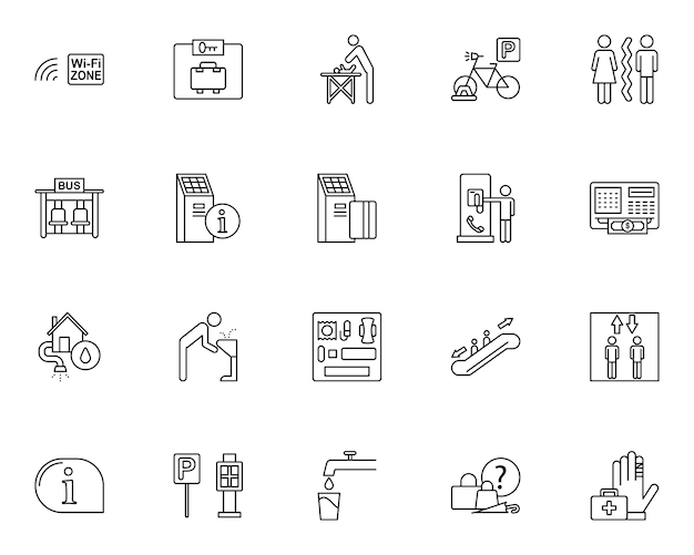 Simple set of public services related icons in line style