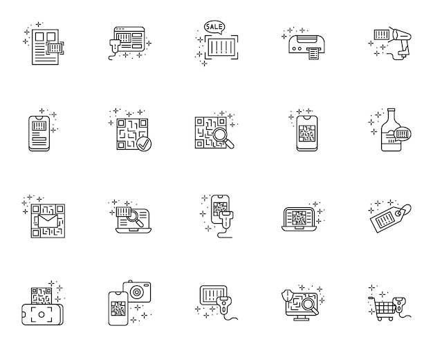 Simple set of qr code and barcode related vector line icons