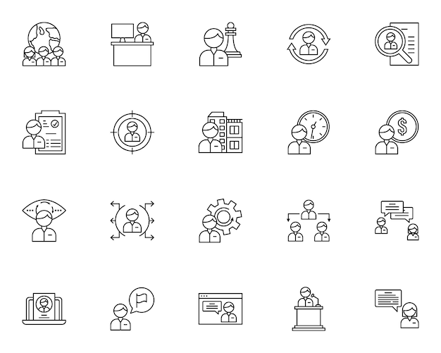 Simple set of recruitment related icons in line style