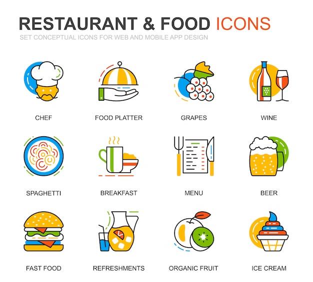 Simple set restaurant and food line icons for website