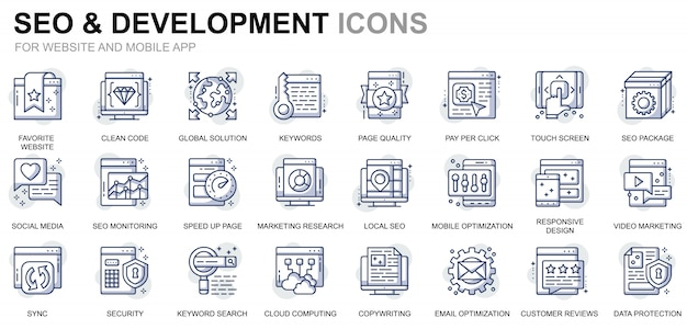 Простые наборы иконок для seo и разработки для веб-сайтов и мобильных приложений Premium векторы