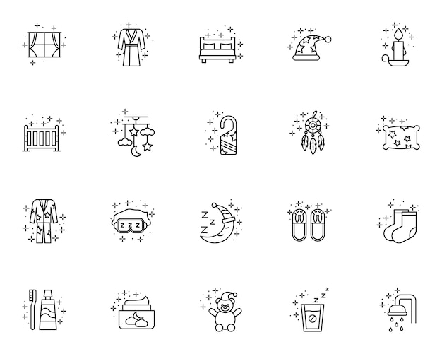 Simple set of sleep related  line icons