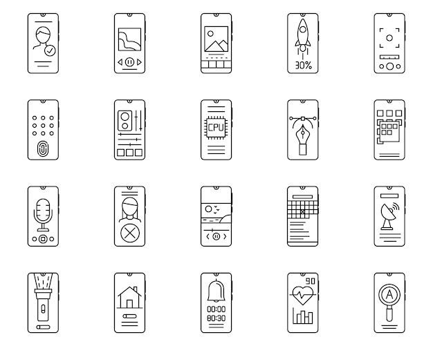 Simple set of smartphone related vector line icons