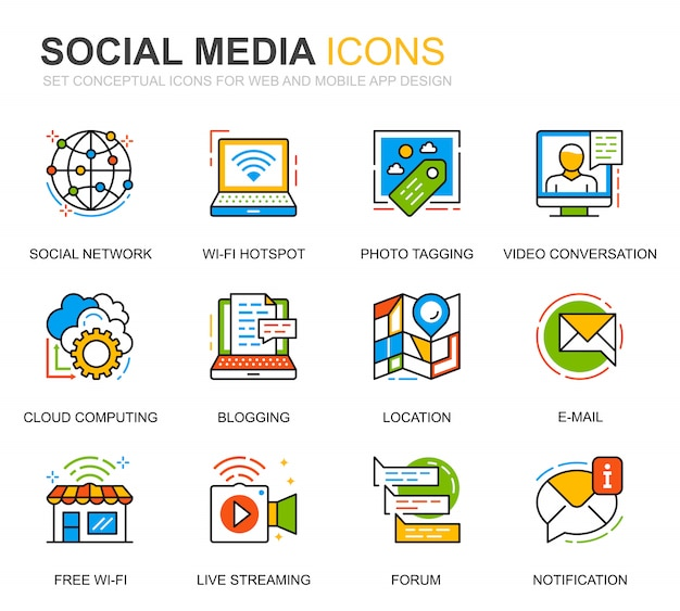 Simple set social media and network line icons for website