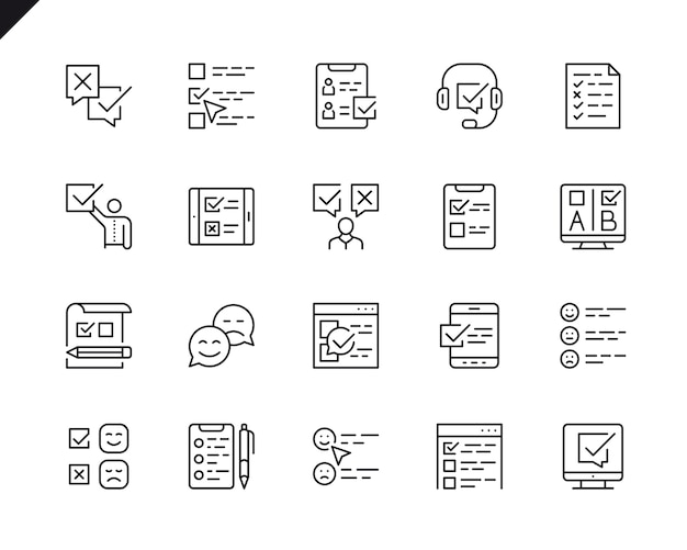 Simple set of survey related vector line icons.