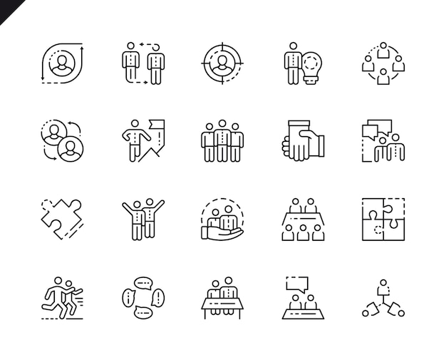 Simple set teamwork line icons for website and mobile apps.