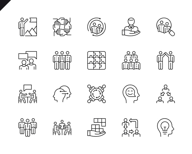 Simple set of teamwork related vector line icons.