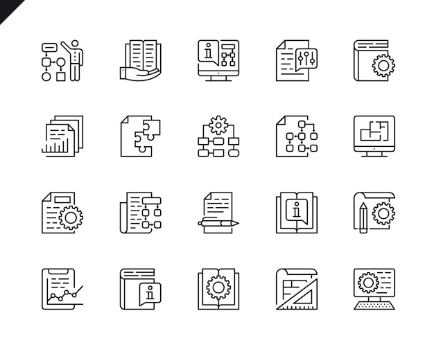 Simple set of technical documentation related vector line icons.