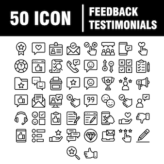 Simple set of testimonials related  line icons. contains such icons as customer relationship management, feedback, review