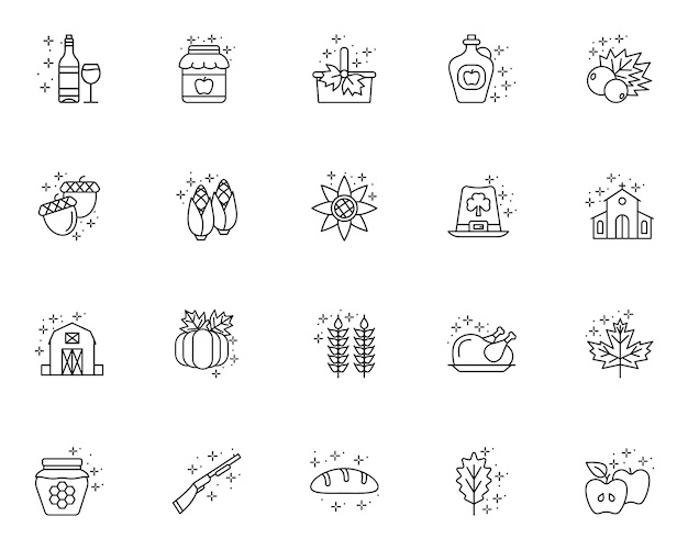 Simple set of thanksgiving day related icons in line style