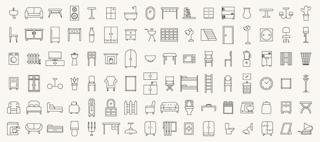 Simple set of  thin line furniture icons
