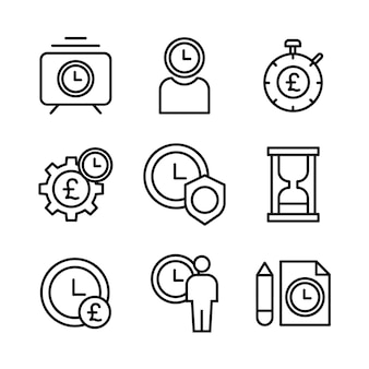 Simple set of time management related vector line icons.