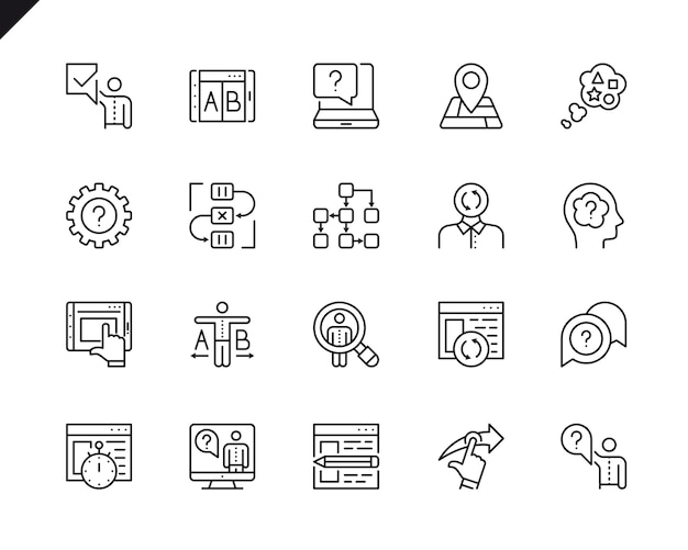 Simple set of ux related vector line icons.