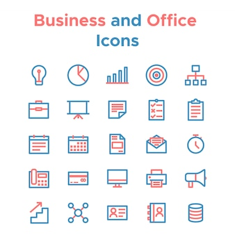 Simple set of vector line icons for business purposes